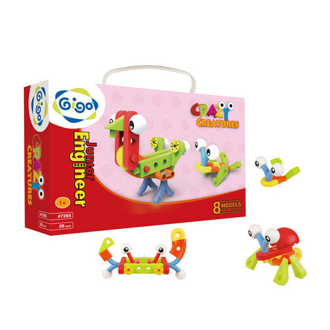 GIGO Junior Engineer Crazy Creatures Build Chickens, Crabs and Frogs - Ages 1 and up