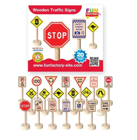 11.5cm Australian Traffic Signs, great for imagination play and learning road rules for toddlers and preschoolers