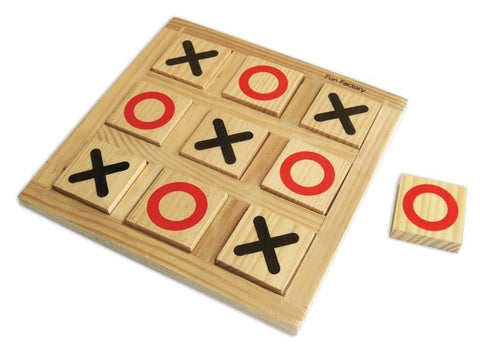 Wooden puzzle noughts & crosses/tic tac toe to play this strategy game with young children who can't write yet