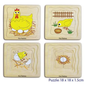 4 Layered wooden puzzle following a chicken's development from egg, through chick all the way to adult chicken on a nest.