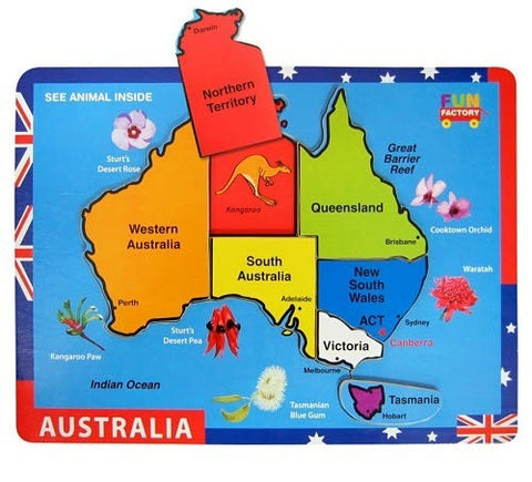 Wooden Puzzle to match the Australian states to the puzzle backboard of Australia and learn the state animals and state flowers too