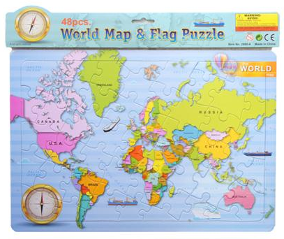 WORLD MAP PUZZLE 48 Piece on back board AlphaBetter Tots