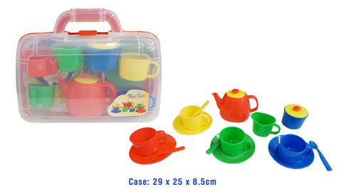 PORTABLE Plastic Tea Set In Carry Case