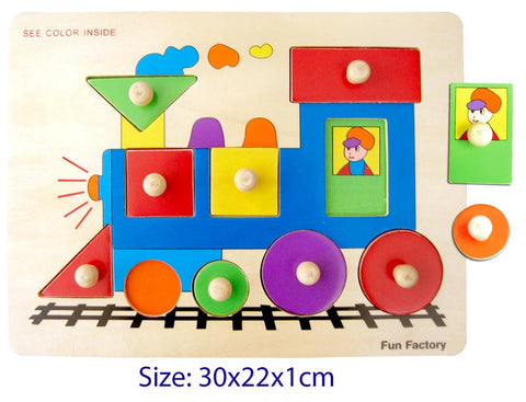 FUN FACTORY Train Shapes Wooden Knob Puzzle - AlphaBetter Tots