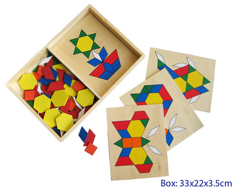 Build a pic with wooden geometric shapes in wooden box