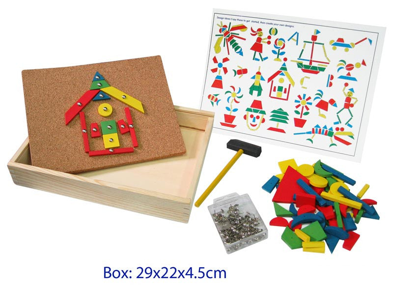 Tap the (blunt) nails through the wooden geometric shapes into the corkboard with the kid size hammer to make lots of different pictures