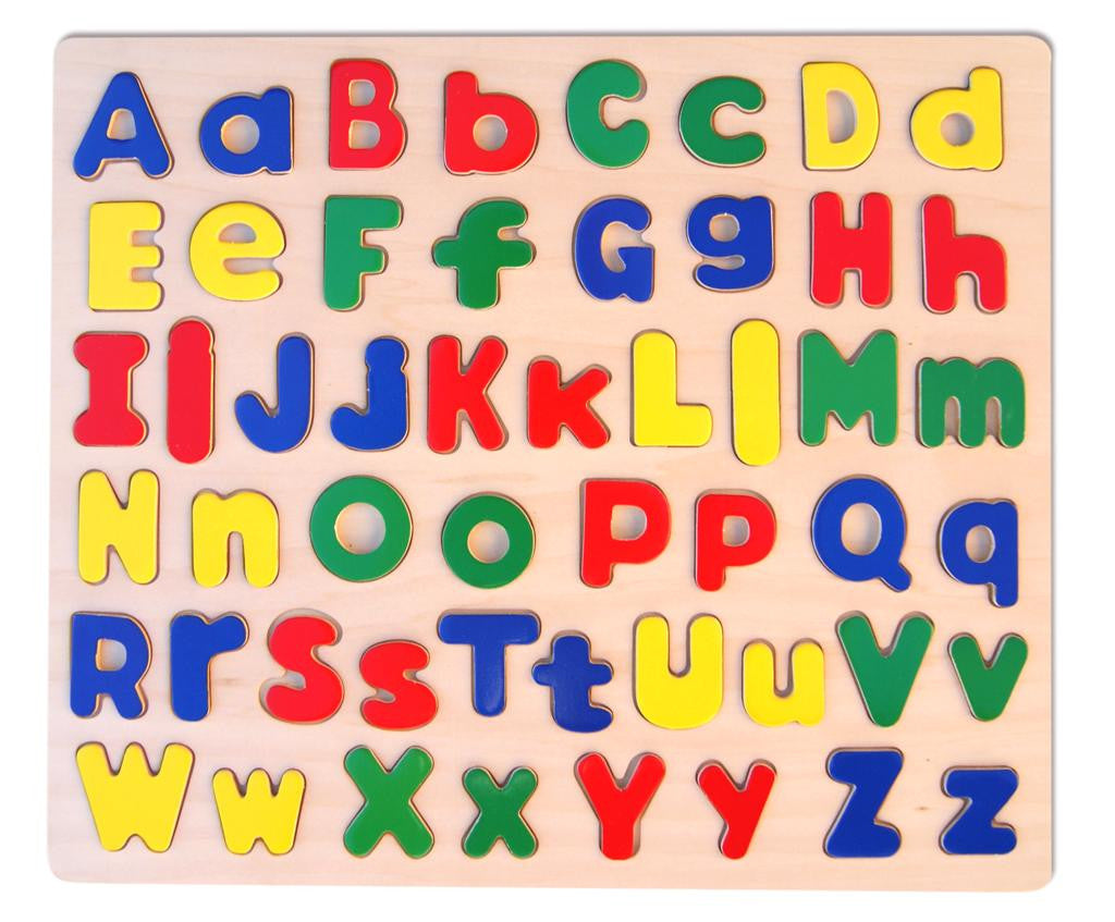 FUN FACTORY Upper & Lower Alphabet Raised Wooden Puzzle - AlphaBetter Tots