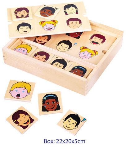 Wooden Matching Expressions Bingo game for teaching emotions in preschoolers