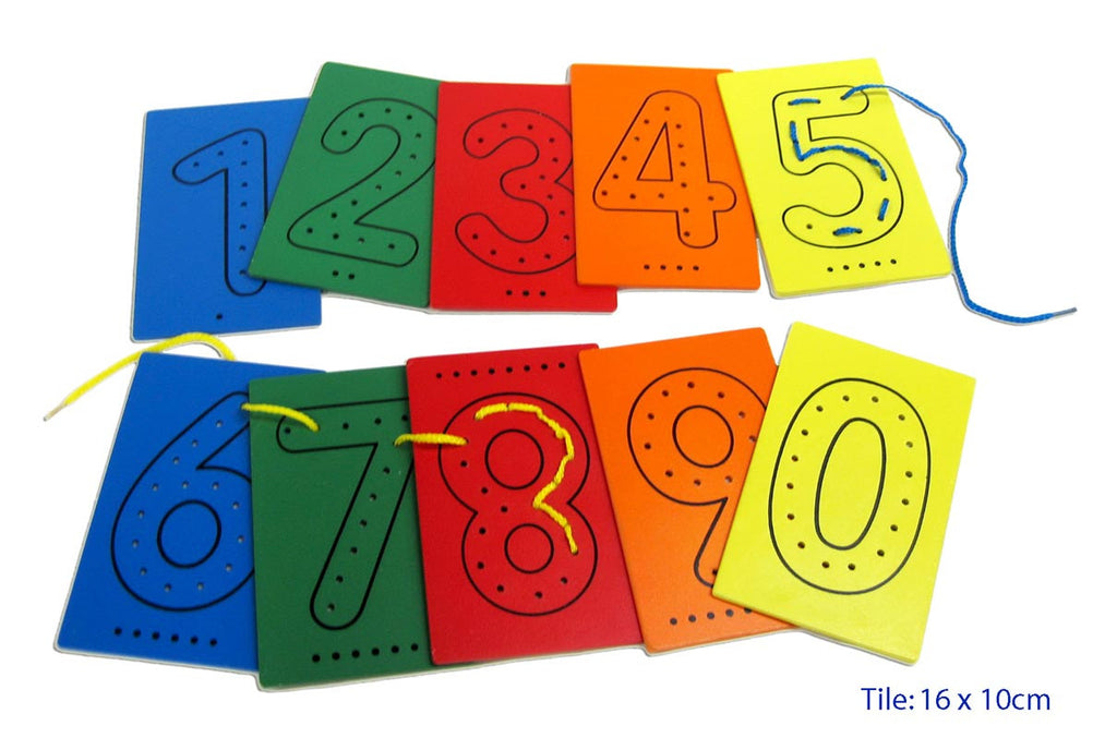 Number cards to thread a shoelace through, learn numbers from 1 to 10 while increasing fine motor skills of threading