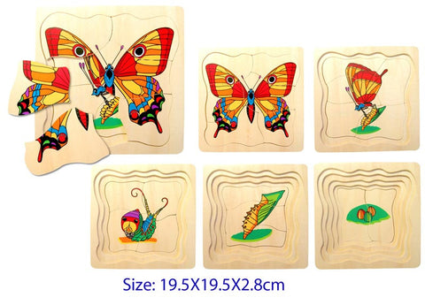 5 layered wooden puzzle to follow a butterfly's development from caterpillar, into its cocoon and all the way to a beautiful butterfly