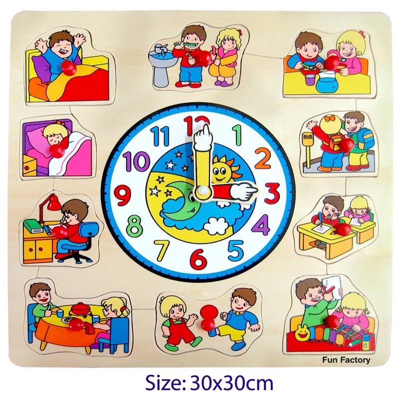 Learn the time with this wooden puzzle with moving clock hands and daily activity puzzle pieces