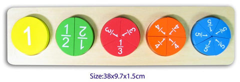 1 whole circle, 2 halves, 3 thirds, 4 quarters and 5 fifths all explained by this colourful wooden fractions puzzle