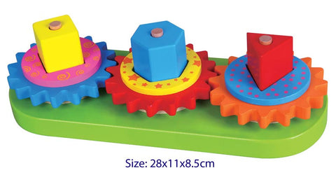 VIGA Wooden Blocks & Geometric Turning Gears