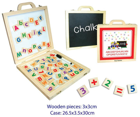 Fun Factory Alphabet & Number Activity Kit - Magnetic alphabet tiles on a whiteboard inside its own case