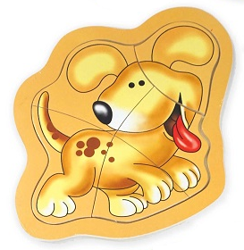 5 Piece Puppy Dog Wooden Jigsaw Puzzle on Backboard