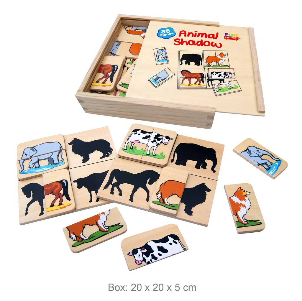 A wooden puzzle game to match the colourful animal halves to their silhouette.