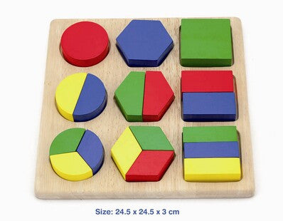 VIGA Fractions Wooden Block Puzzle