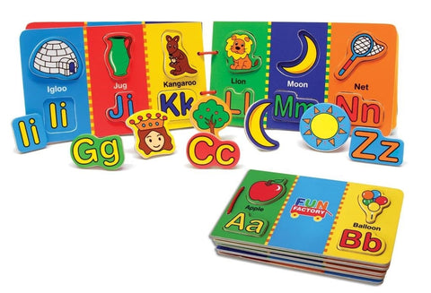 Wooden puzzle board book with magnetic alphabet and picture puzzle pieces