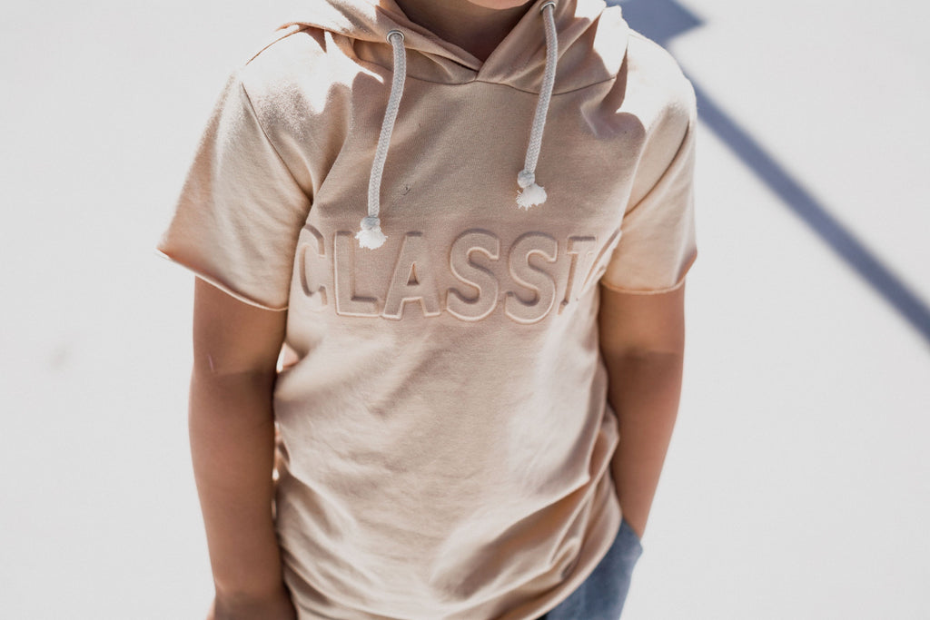 BEIGE HOODED SHORT SLEEVE