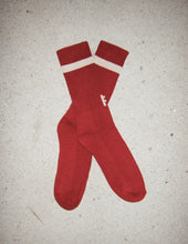 Load image into Gallery viewer, 'F' sock maroon