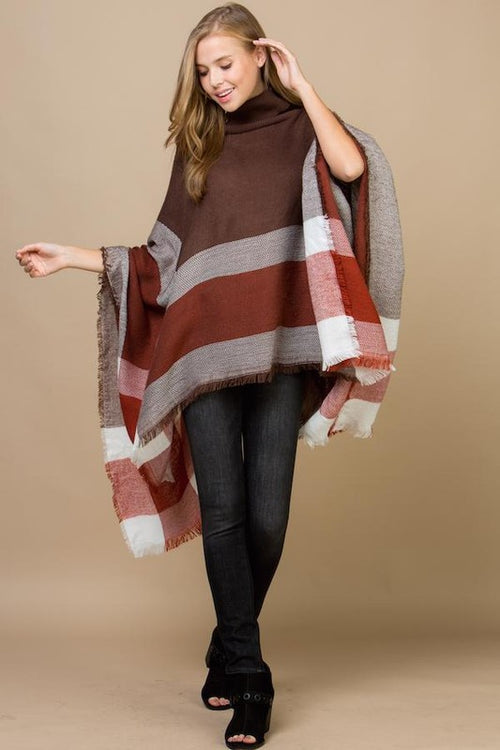 Plaid Poncho With Turtle Neck