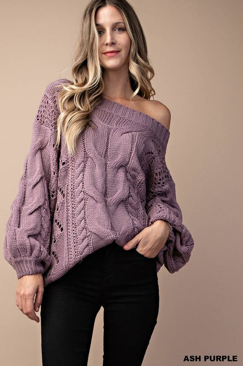 Cable Knit Puff Sleeve Off Shoulder Sweater