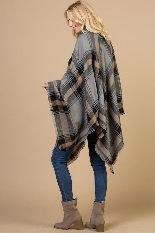 Plaid Contrast Turtle Neck Poncho - Coming Soon