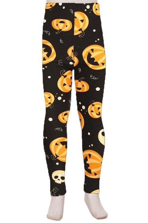 Cartoon Pumpkin and Skull Print Leggings - Kids