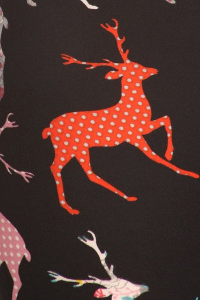 5-Inch Multicolored Reindeer Silhouette Printed Knit Leggings