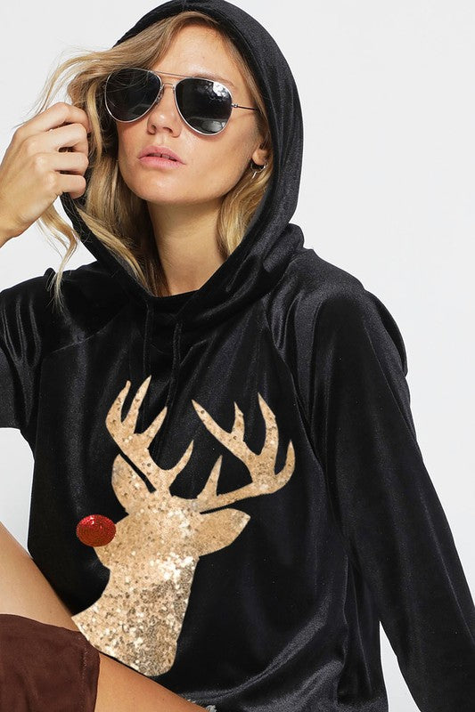 Velvet/Velour Hoodie With Rudolph Sequin Patch