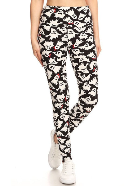 5-inch Waistband Ghost Printed Leggings