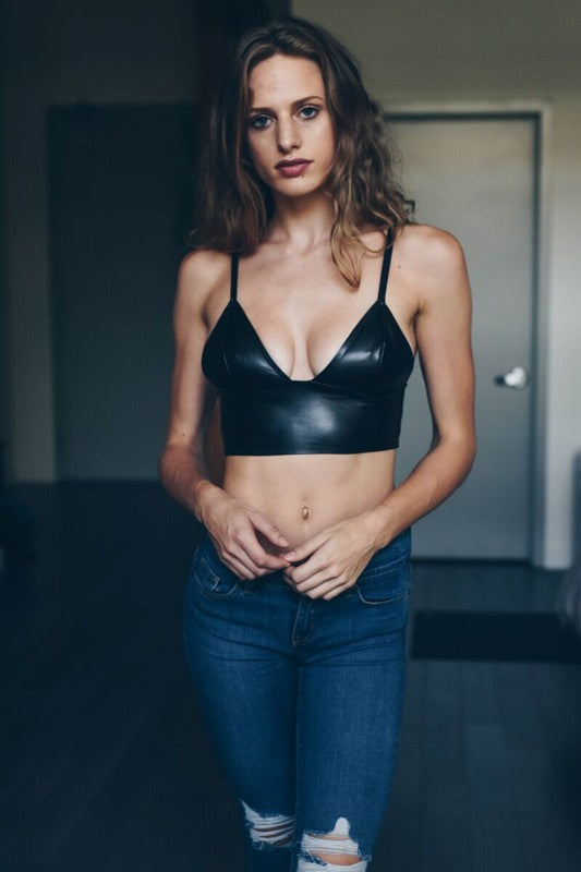 Faux Leather Long Line Bralette