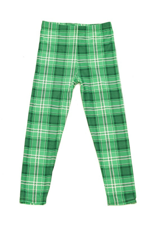 Green Plaid Print Buttery Soft Leggings - Kids