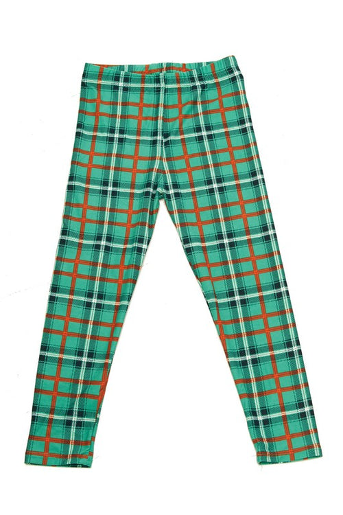 Green Red/Orange Plaid Print Leggings - Kids