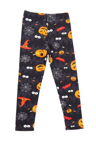 Halloween Pumkins and Bats Leggings - Kids