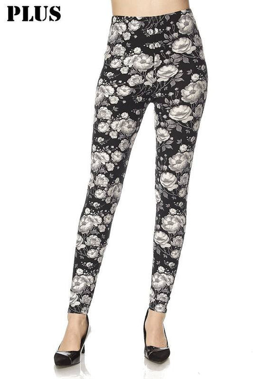 grey & white floral pattern - Curvy