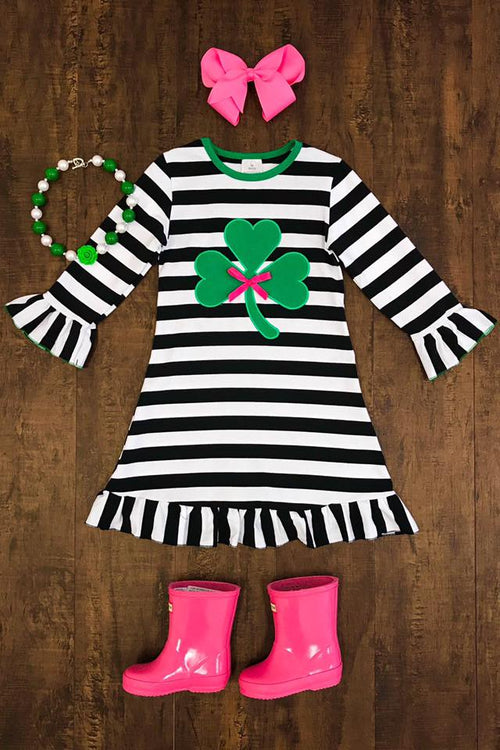 Striped Clover Ruffle Dress