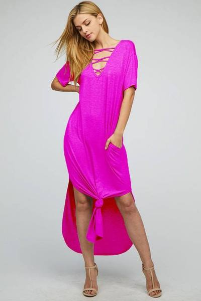 Maxi Dress Caged Neck W/ Pockets - 2 colors