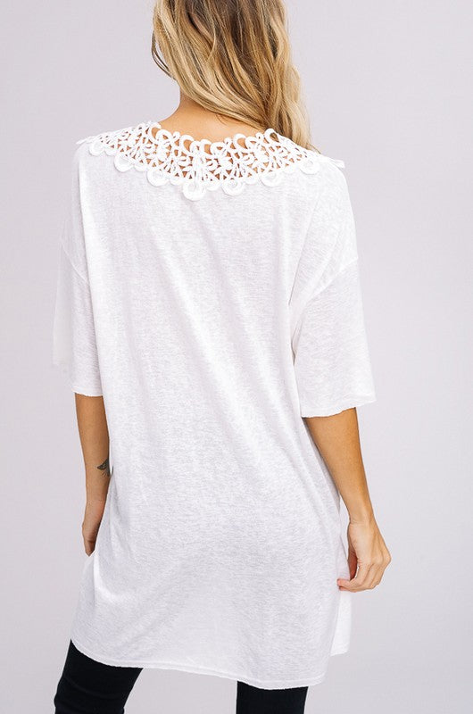 Knit V-Neck Drop Shoulder T-Shirt