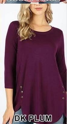 Bottom Button Top 3/4 Sleeve - 2 colors
