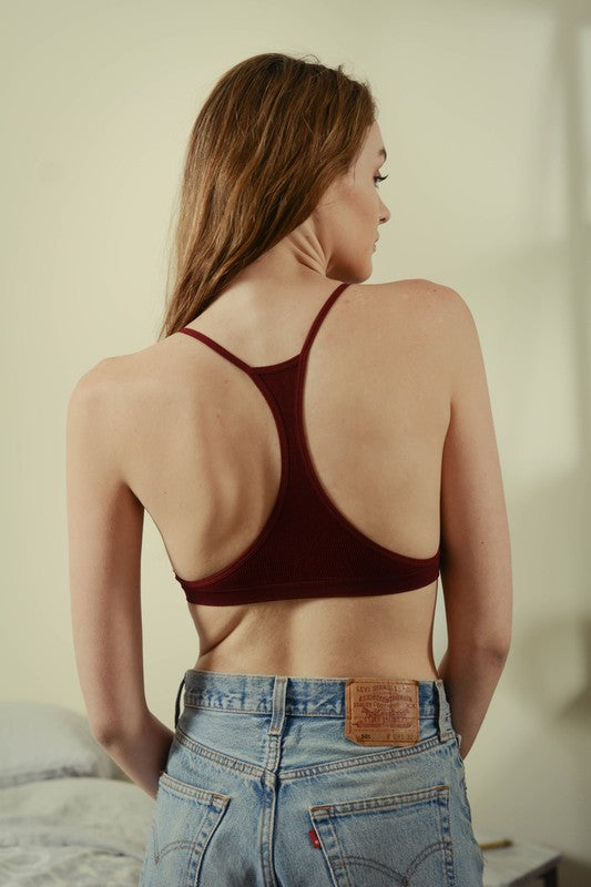 Seamless Lace Up Racer Back Bralette - Grey or Black