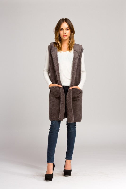 Hooded Vest - Tan
