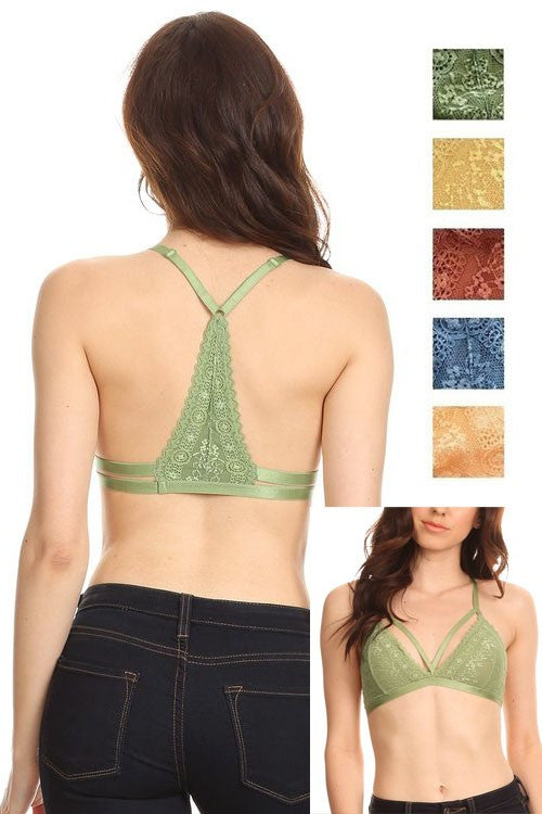 Gorgeous lace triangle racerback bralette