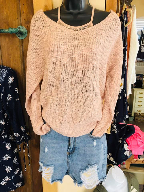 Twisted Back Dolman Sleeve Sweater - Blush