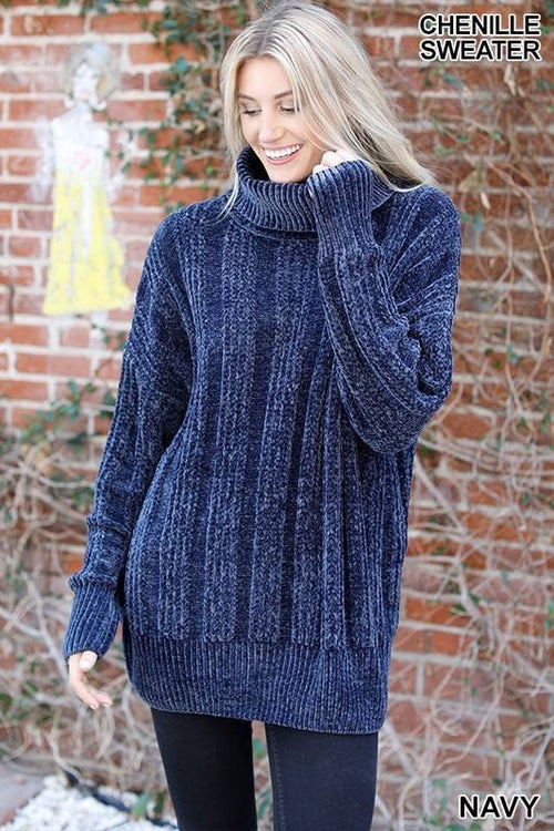 Turtleneck Chenille Sweater - Navy Or Plum