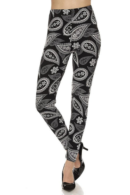 Paisley Print Brushed Ankle Leggings