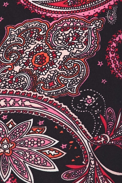 Black and Pink Paisley Print Yummy Brushed Ankle Leggings