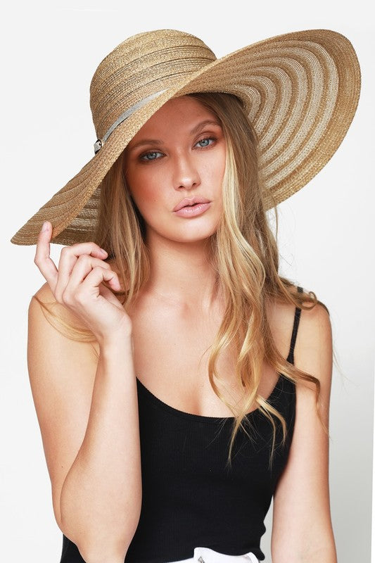 Metallic Straw Sun Hat