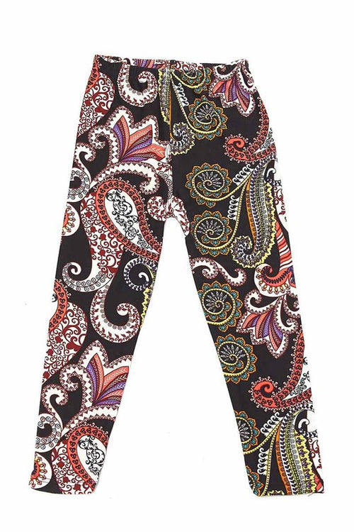 Paisley Print Brushed Yummy Leggings 5 - Kids