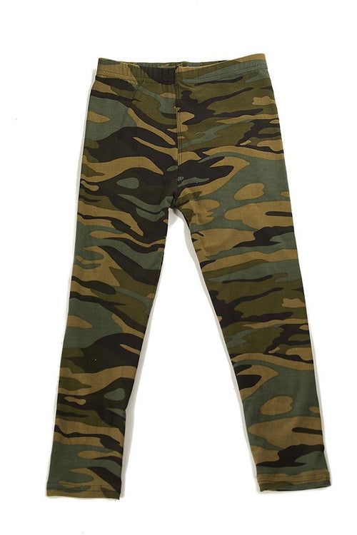 Camouflage Print Brushed Yummy Leggings - Kids